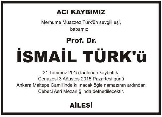 prof doktor ismail türk vefat