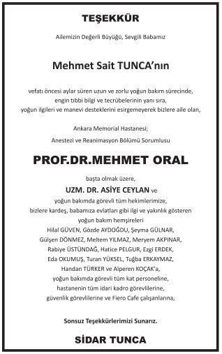 Mehmet Oral teşekkür ilanı