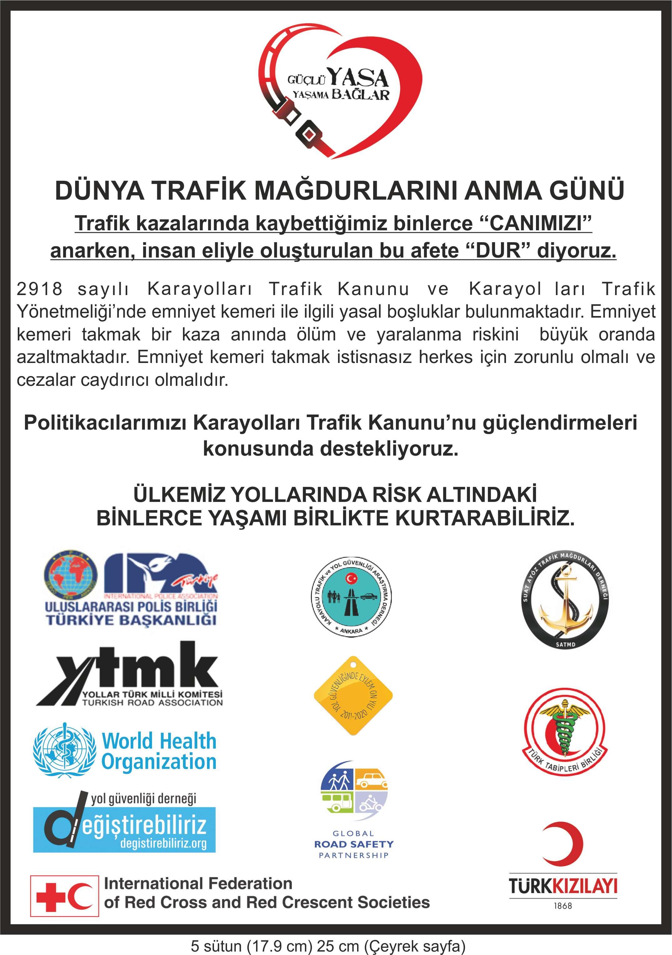 dünya trafik mağdurlarını anma günü