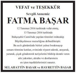 Fatma Başar Vefat ve teşekkür ilanı