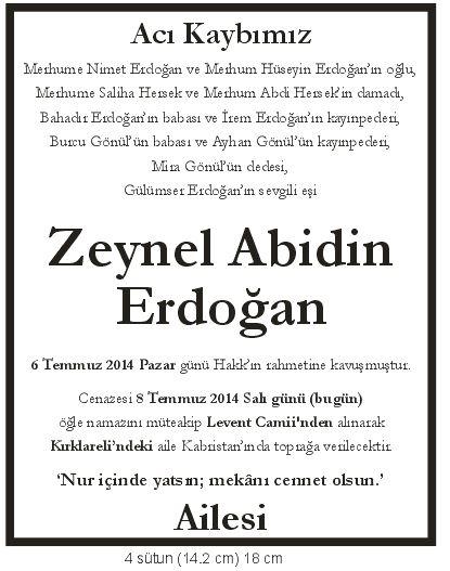 zeynel abidinn erdoğan ailesi vefat ilanı