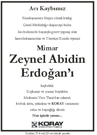 zeynel abidin erdoğan vefat başsağlığı ilanı koray yapı aş